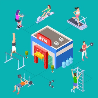 Concept de club de sport isométrique