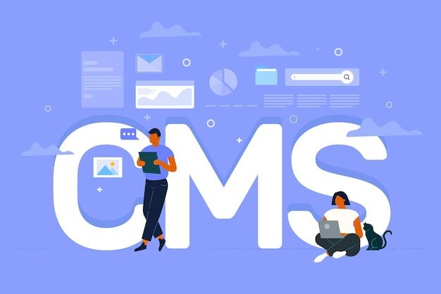 Concept de cms dessiné main plat illustré