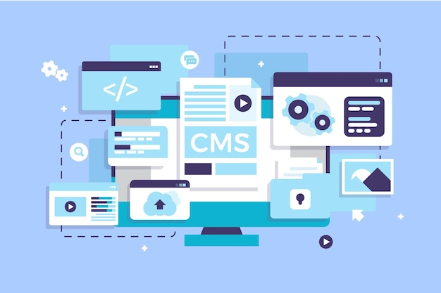 Concept cms plat illustré