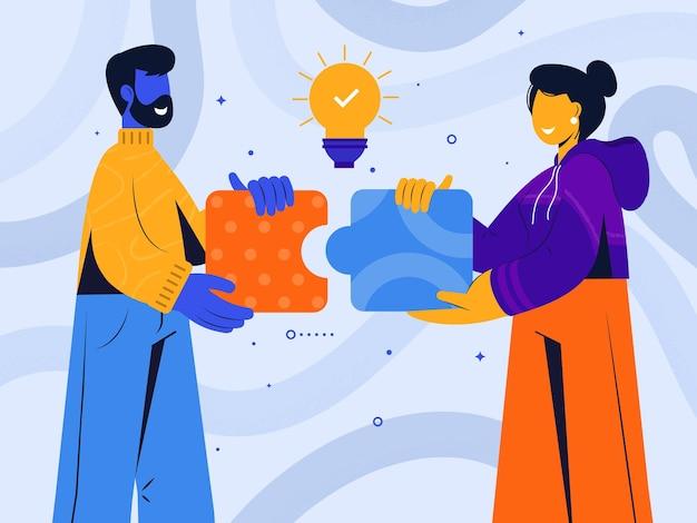 Concept de co-working et illustration du travail d'équipe