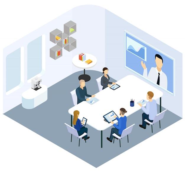 Concept de coaching d'entreprise isométrique