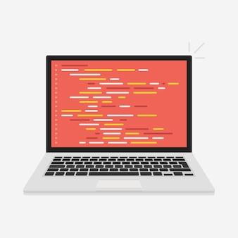 Concept de codage pour ordinateur portable de vecteur. développeur web, conception, programmation. code d'écran d'ordinateur portable. illustration vectorielle.