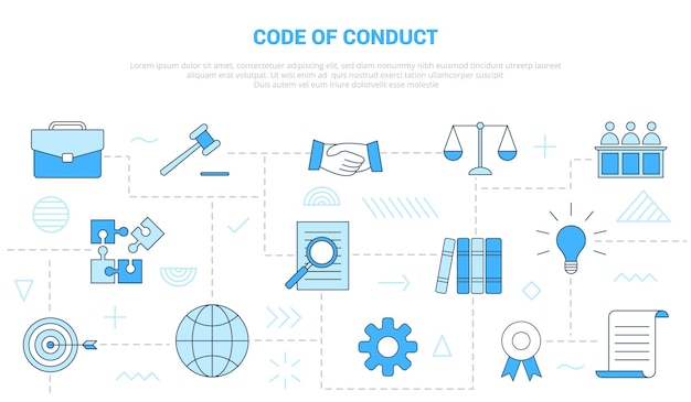 Concept de code de conduite avec bannière de modèle de jeu d'icônes