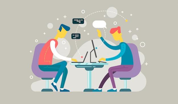 Concept de code des étudiants utilisant des ordinateurs portables pour développer des programmes et des applications. concept logiciel.