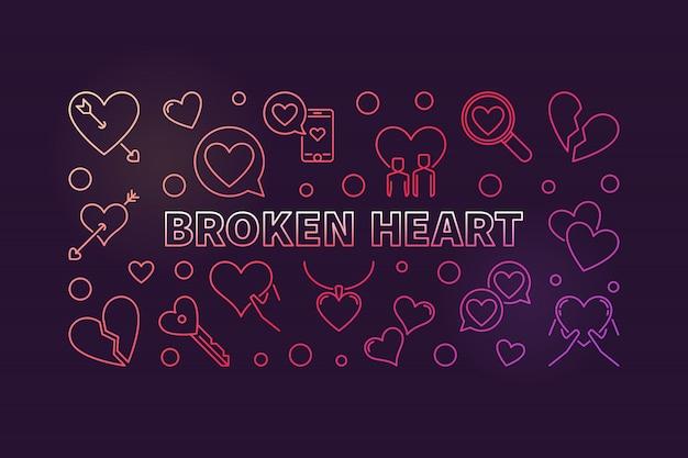 Concept de coeur brisé illustration contour coloré