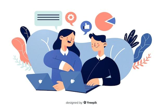 Concept de collaborateurs d'une page de renvoi
