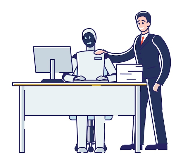 Concept de collaboration de l'homme et du robot.