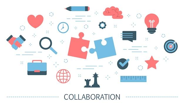Concept de collaboration. idée de partenariat et de travail d'équipe. communication avec le partenaire et soutien tout en travaillant ensemble. isolé