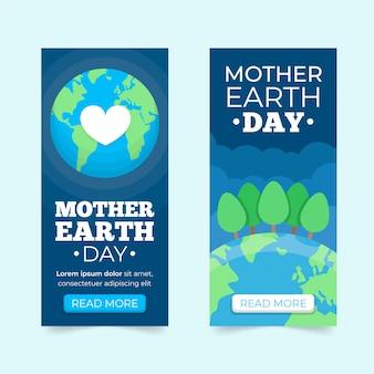 Concept de collection bannière design plat jour de la terre mère