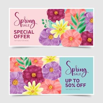 Concept de collection de bannière de vente de printemps aquarelle