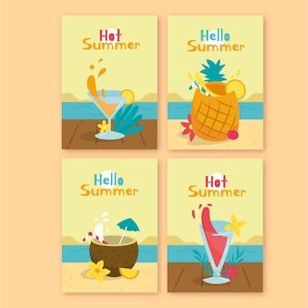 Concept de collection de cartes d'été dessinés à la main