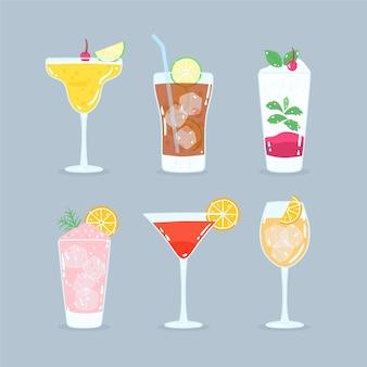 Concept de collection de cocktails dessinés à la main