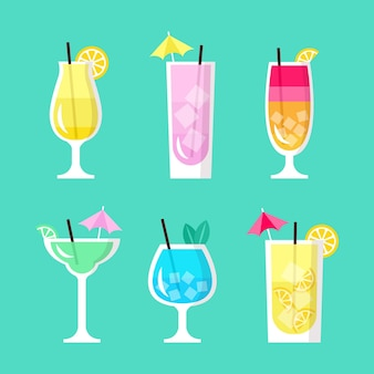 Concept de collection de cocktails plats
