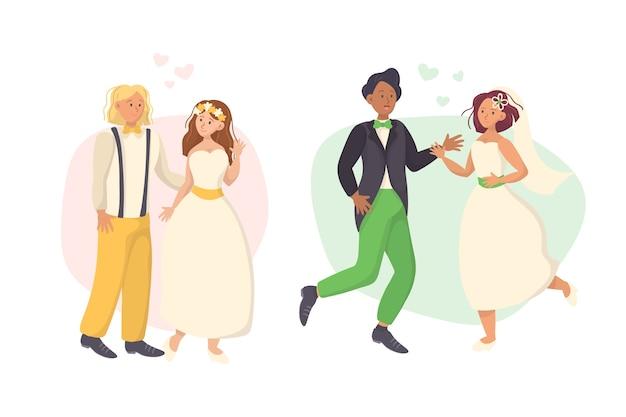 Concept de collection de couple de mariage dessin à la main
