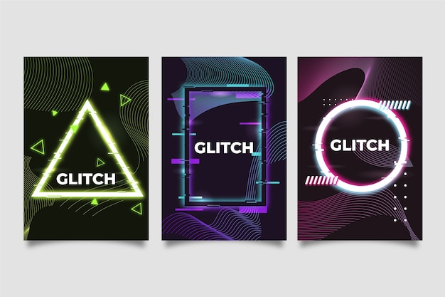 Concept de collection de couverture glitch design graphique
