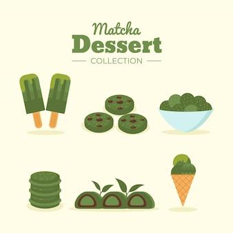 Concept de collection de desserts au matcha