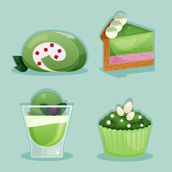 Concept de collection de desserts au matcha