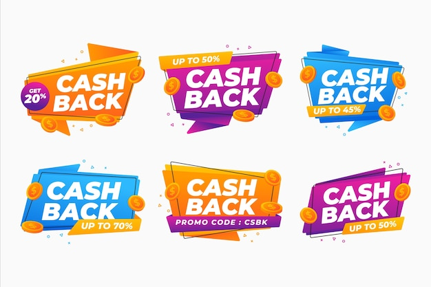 Concept de collection d'étiquettes de cashback