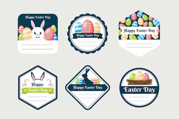 Concept de collection d'étiquettes design plat jour de pâques