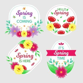 Concept de collection d'étiquettes design plat printemps