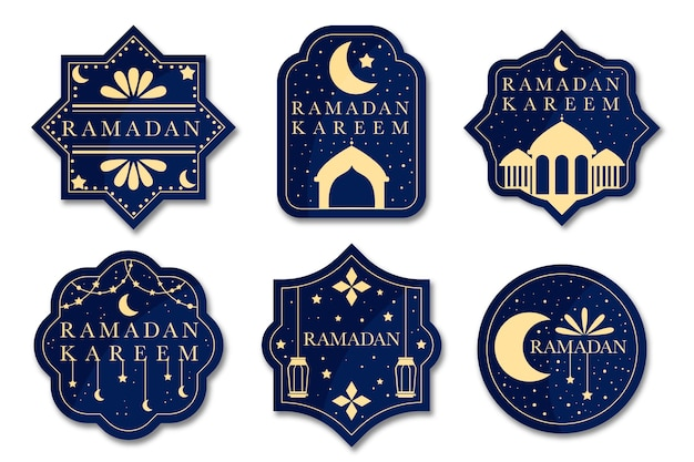 Concept de collection d'étiquettes design plat ramadan