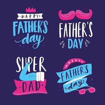 Concept de collection d'étiquettes fête des pères