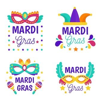 Concept de collection d'étiquettes de mardi gras
