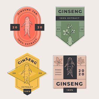 Concept de collection d'étiquettes de pot de ginseng