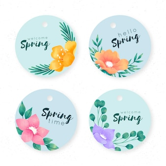 Concept de collection d'étiquettes de printemps aquarelle