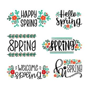 Concept de collection d'étiquettes de printemps dessinés à la main