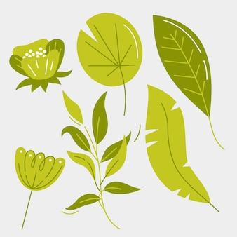 Concept de collection de fleurs et de feuilles tropicales
