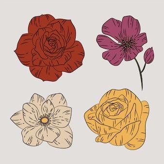 Concept de collection de fleurs de printemps rétro