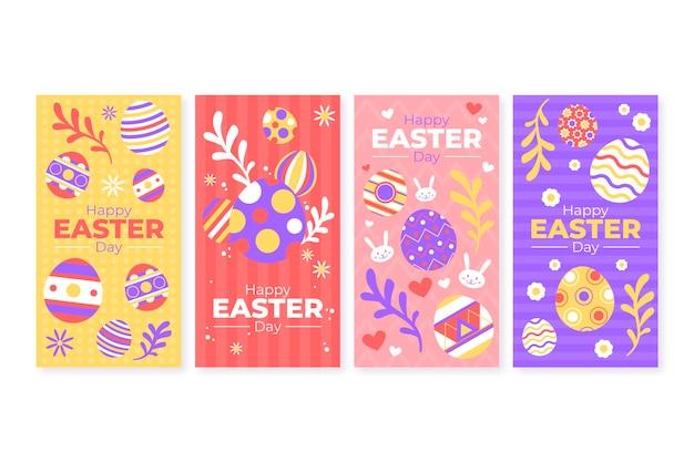Concept de collection d'histoires instagram jour de pâques