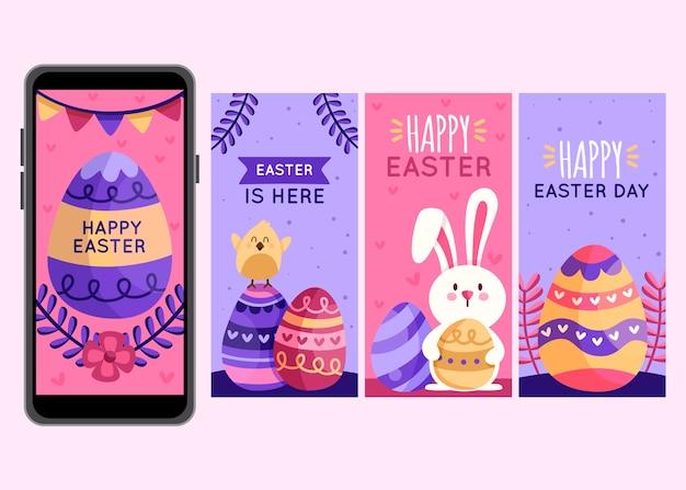 Concept de collection d'histoires isntagrma jour de pâques