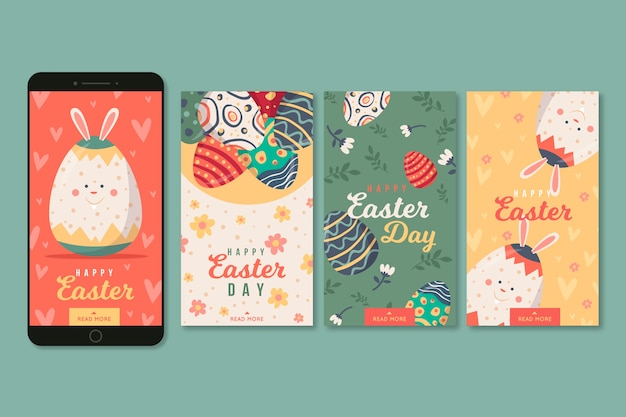 Concept de collection d'histoires de jour de pâques