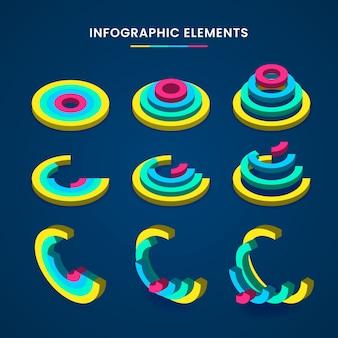 Concept de collection infographique isométrique