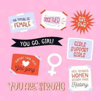 Concept de collection d'insignes de la journée des femmes