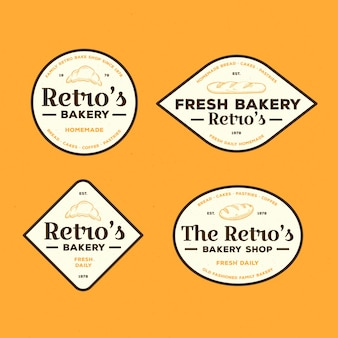 Concept de collection de logo de boulangerie rétro
