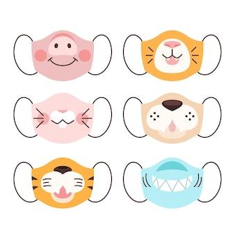 Concept de collection de masque de visage animal