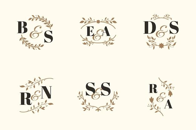 Concept de collection de monogramme de mariage élégant