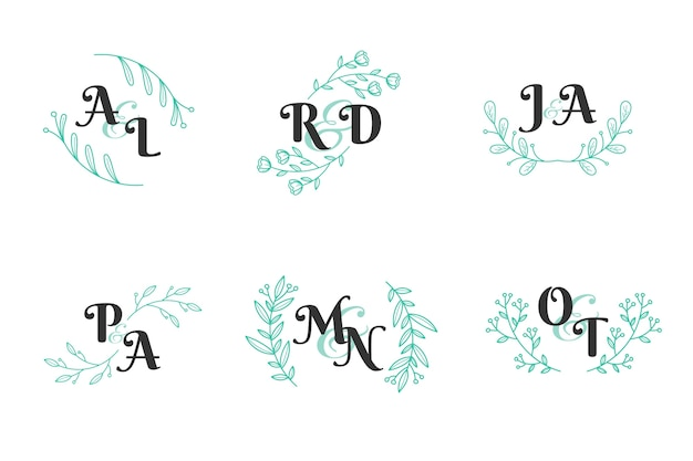 Concept de collection de monogramme de mariage floral