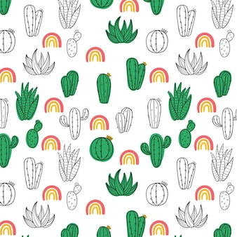 Concept de collection de motifs de cactus