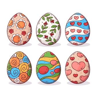 Concept de collection d'oeufs de pâques dessinés à la main