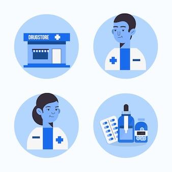 Concept de collection de pharmacien