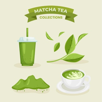 Concept de collection de thé matcha