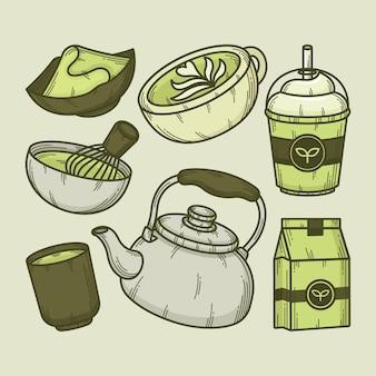 Concept de collection de thé matcha