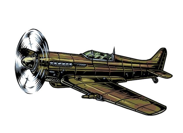 Concept coloré d'avion de chasse volant rétro dans un style vintage isolé