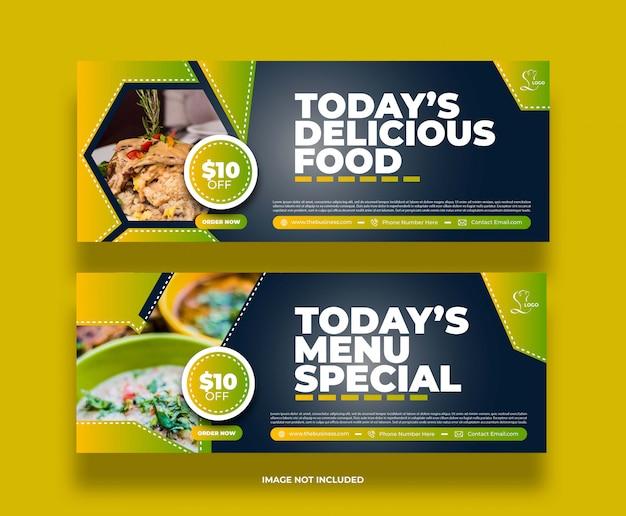 Concept coloré créatif nourriture restaurant délicieux bannière de médias sociaux