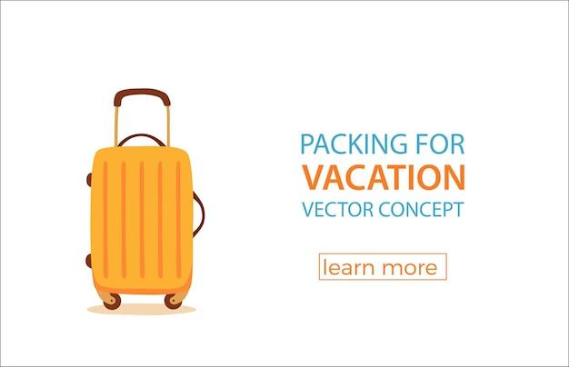 Concept coloré de dessin animé de valise de voyage.