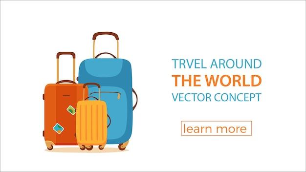Concept coloré de dessin animé de vecteur de valise de voyage. touristes emballant des bagages pour l'illustration du voyage d'affaires. modèle de conception pour l'aéroport, la vente de billets, les vacances, les loisirs, le voyage, le sac à main pour le voyage.